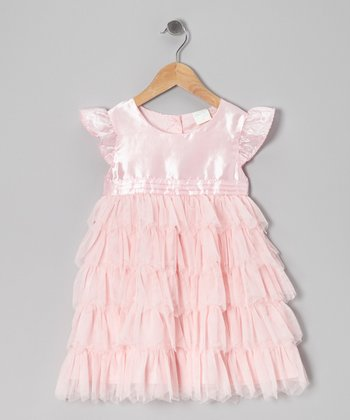 Pink Ruffle Angel-Sleeve Dress - Infant, Toddler & Girls