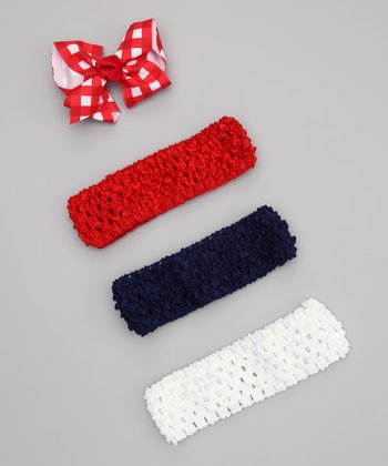 Patriotic Checker Bow & Headband Set