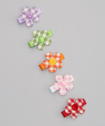 Shiny Gingham Bow Clip Set