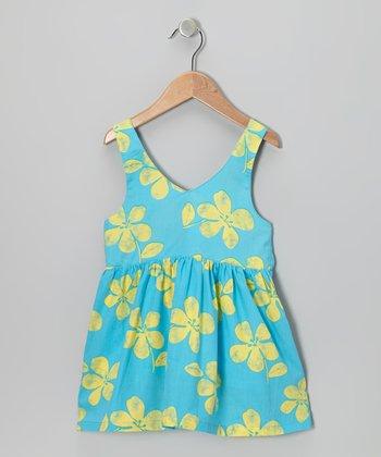 Turquoise Floral V-Neck Dress - Infant, Toddler & Girls
