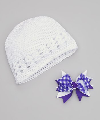 White Beanie & Purple Gingham Bow