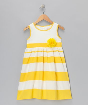 Yellow Stripe Flower Dress - Toddler & Girls