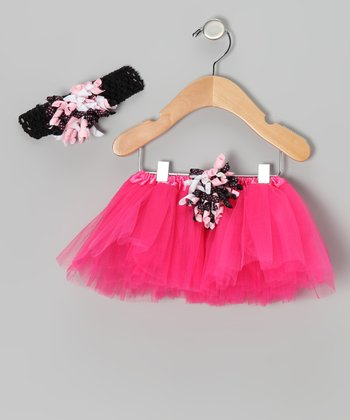 Hot Pink & Black Corker Tutu & Headband - Infant