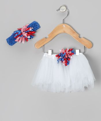 White Patriotic Corker Tutu & Headband - Infant