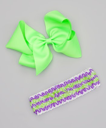 Lime Bow Clip & Stripe Headband