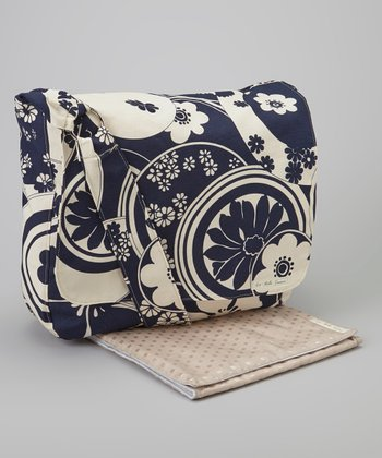 La Bella Couture Navy Floral Swirl Large Messenger Diaper Bag