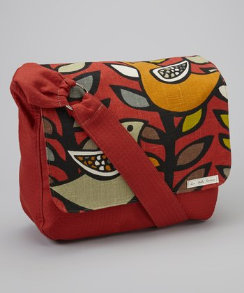 La Bella Couture Red Bird Messenger Diaper Bag