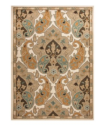 Beige Abstract Indoor/Outdoor Rug