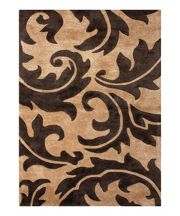 Black & Beige Transitional Abstract Wool Tufted Rug