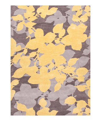 Yellow & Gray Transitional Floral Wool Rug