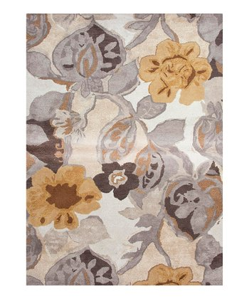 Gray & Cream Transitional Floral Rug