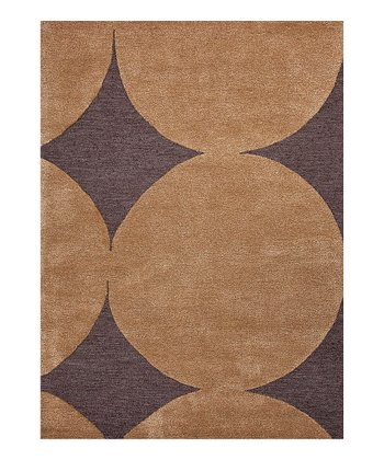 Brown Modern Geometric Wool Tufted Rug