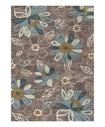 Beige & Brown Floral Rug