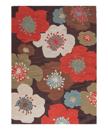 Coral & Brown Flower Rug