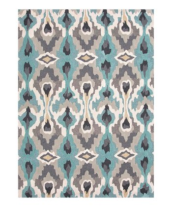 Aqua & White Rippled Reflection Rug