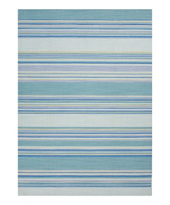 Aqua Stripe Coastal Living Wool Rug