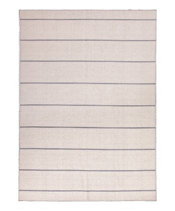 Ivory & White Stripe Wool Rug