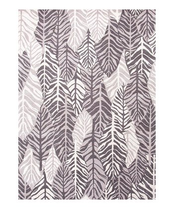White Leaf Wool Rug