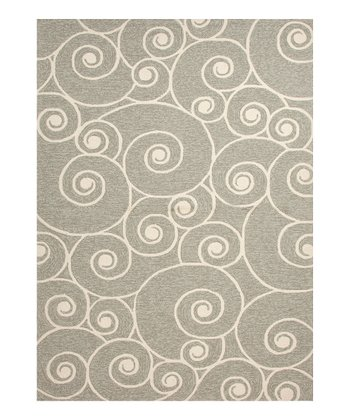 Gray Cloud Swirl Indoor/Outdoor Rug