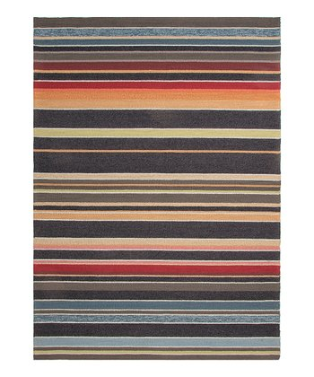 Orange & Blue Graduated Stripe Rug
