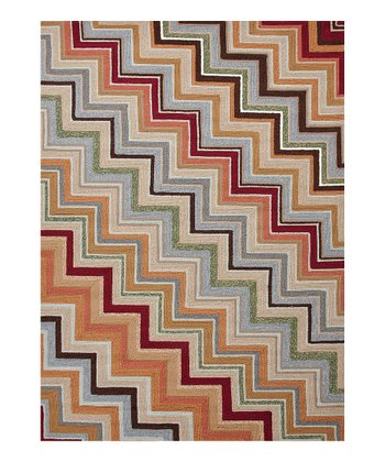 Red & Blue Indoor/Outdoor Zigzag Rug