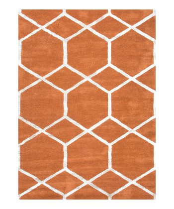 Orange Spice Modern Geometry Wool-Blend Rug