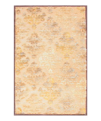 Yellow & Beige Damask Rug