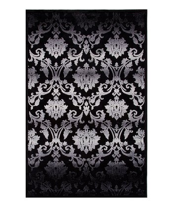 Black & Gray Damask Rug