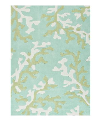 Blue & Green Coral Tufted Rug