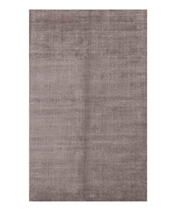 Gray & Black Solid Wool-Blend Rug