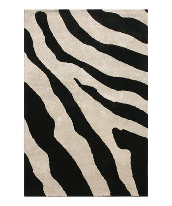 Antique White & Black Zebra Wool Rug