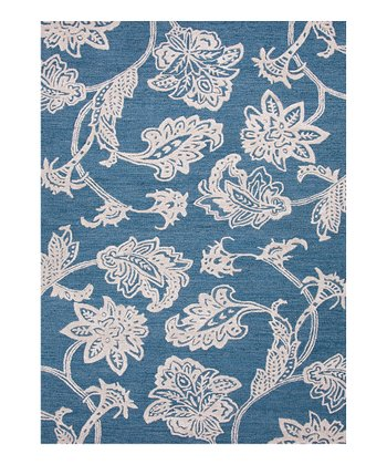 Ink Blue Ornate Floral Wool Rug