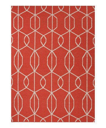 Red & Orange Sound Wave  Wool Rug