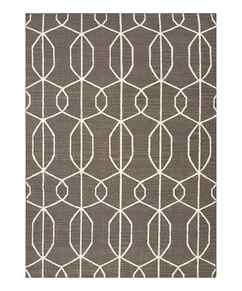 Black & Gray Geometry Flat-Weave Wool Rug