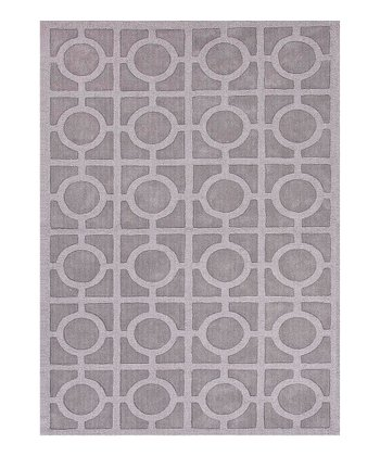 Blue Circles & Squares Wool Rug