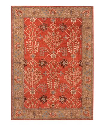 Coral & Brown Tribal Flower Wool Rug
