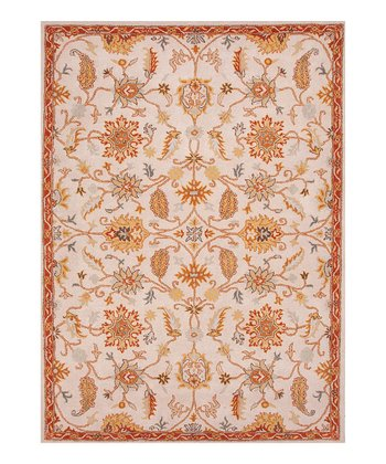 Ivory & Brown Transitional Floral Tufted Wool Rug