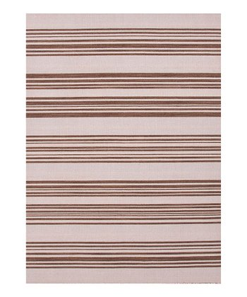 Brown & Beige Stripe Handmade Flat Weave Wool Rug
