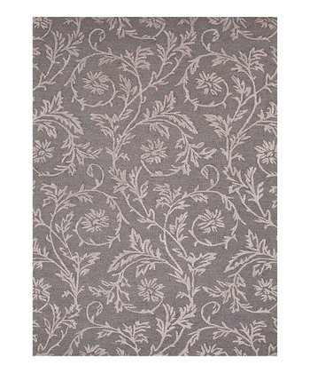 Blue & Gray Floral Wool Rug