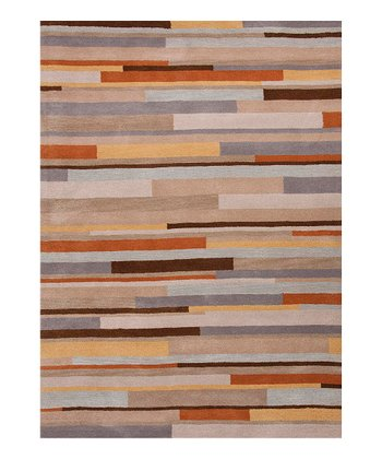 Orange & Blue Geometric Tufted Wool Rug