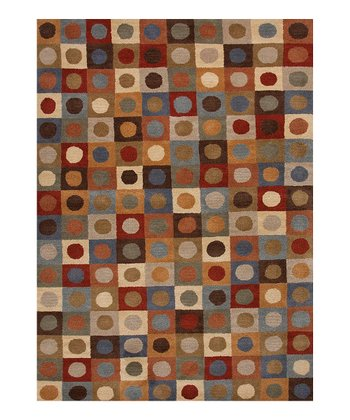 Red Square Geometric Tufted Wool Rug
