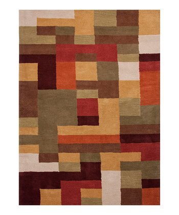 Warm Geometric Tufted Wool Rug