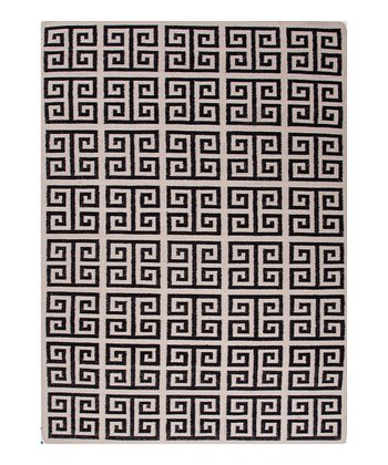 Black Roman Square Flat-Weave Wool Rug