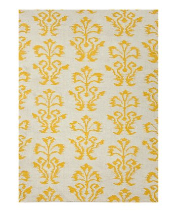 Yellow Floral Wool Rug