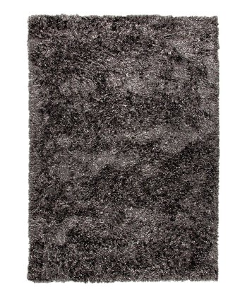 Gray & Black Abstract Shag Wool Rug