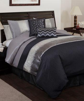 Gray & Black Night Sky Comforter Set