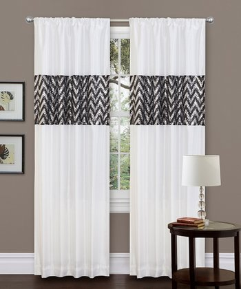 White Shimmer Curtain Panel