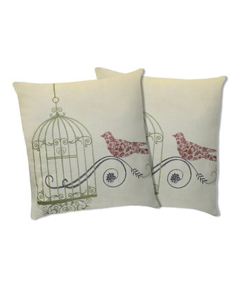 Green Dream Bird Throw Pillow - Set of Two