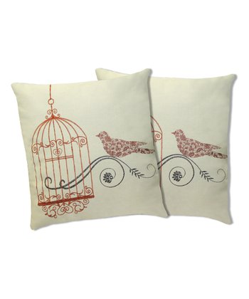 Orange Dream Bird Throw Pillow - Set of Two