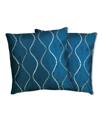 Blue Swirl Pillow - Set of Two
